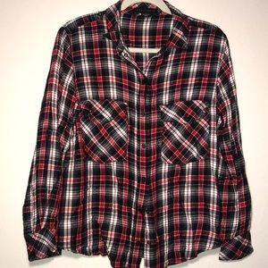 Sanctuary red and black plaid boyfriend shirt